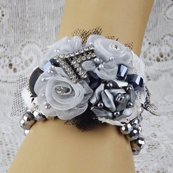 Black Flower Corsage Brooch Masoomah: Pewter,Silver Black Fabric Flowers & Jewelry Wrist Corsage
