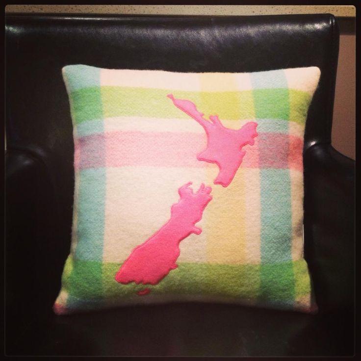 NZ map blanket cushion - Neon Pink | Felt