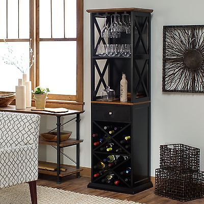 bar cabinet wine rack bottle storage rustic tall kitchen furniture tower wood