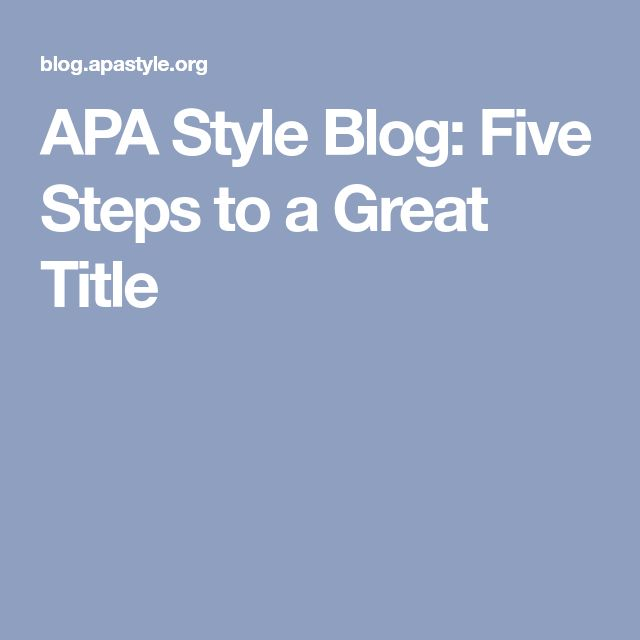 how to write a blog in apa format