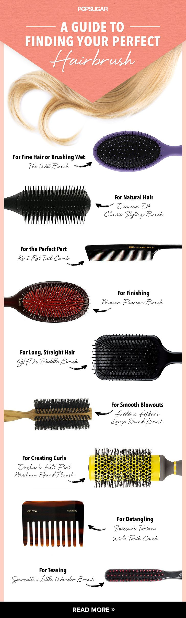 Not sure which hairbrush you should be using? This guide helps you find the best brush for your hair type, length, and texture.