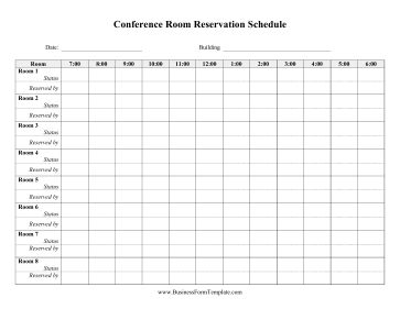 Set in hour-long chunks, this conference room reservation schedule allows libraries and university reserve meeting rooms for students, staff, and patrons. Free to download and print