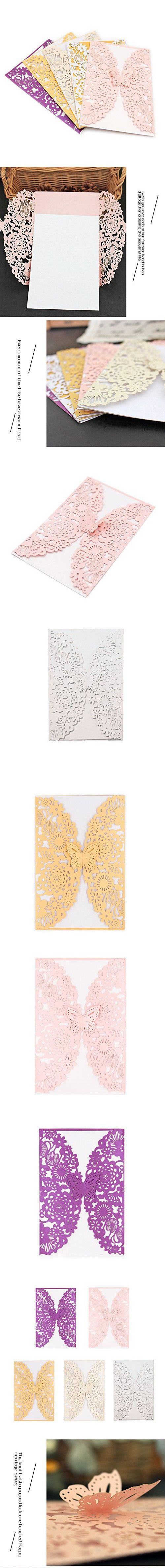 BingGoGo 30x Pearl Paper Laser Cut Invitations , For Baby Shower, Wedding, Mother's Day ,Brides Bridal Shower, Graduation Celebration, Birthday, Party Invitation,Thank You Cards (Multicolor)