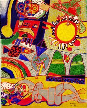 Lauritz.com - Graphic arts - Corneille, terragraph, 154x116 cm (bus) - SE, Stockholm, Slakthusgatan