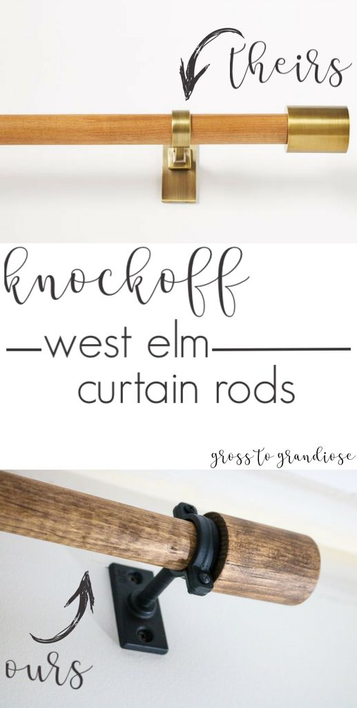 Save about $50 by making your own version of West Elm Mid Century Modern curtain rods!
