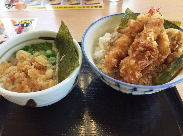 海老天丼とミニうどん @さん天 富田林