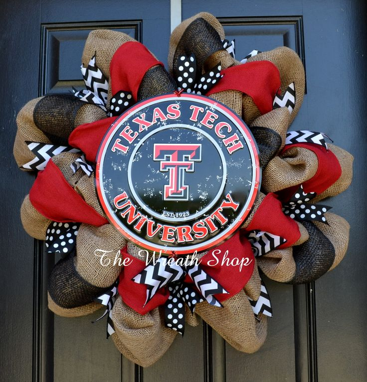 Texas Tech University Burlap Wreath with Round Plate. Black and red faux burlap, and chevron and polka dot accents!