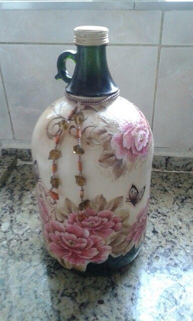 Botella - pintura y decoupage