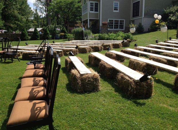 Hay Bale And Covered Plank Seating