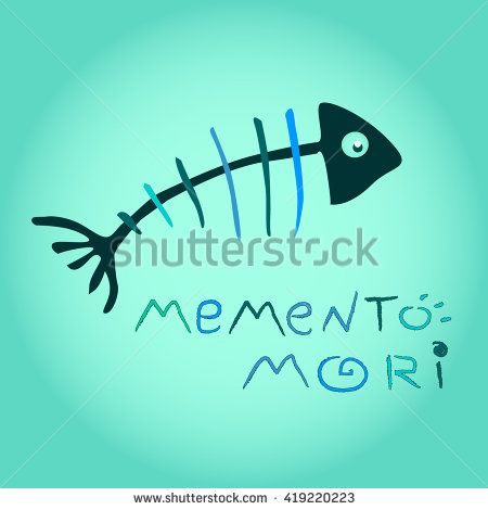 "colorful funny fish skeleton with the words ""Memento Mori"". Vector illustration."