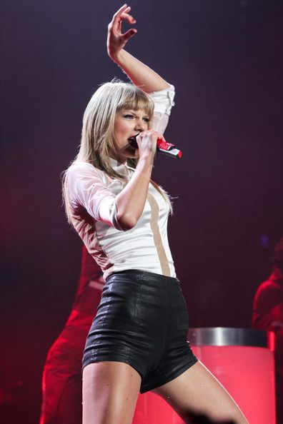 Taylor Swift seen performing at the Staples Center in Los Angeles.