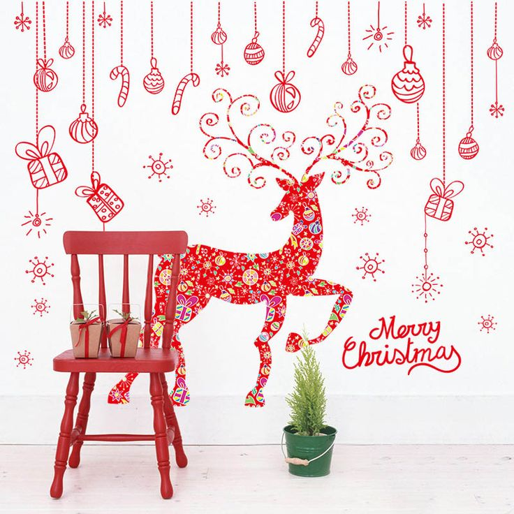 Cheap wall decals stickers, Buy Quality wall appliques directly from China wall mural Suppliers: Red Christmas Gift Box Elk Wall Decal Stickers Window Glass Wall Applique Poster Merry Christmas Wallpaper Decor Wall Mural Art