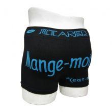 """Superbe boxer homme avec écriture """"Mange-moi !!!"""" à l'arrière. Taille élastiquée pour le total confort, motif lèvre avec la marque au niveau de la taille. Tailles assorties : S/M - L/XL."""