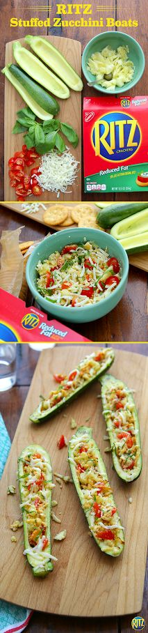 Veggie time just got real with these RITZ cracker Stuffed Zucchini Boats. Cut zucchini lengthwise in half, scooping out centers onto a cutting board. Mix chopped zucchini pulp, shredded mozzarella cheese, chopped tomatoes, RITZ cracker crumbs, and basil. Spoon evenly into the zucchini shells, sprinkle with cheese, and bake for about 15 minutes.
