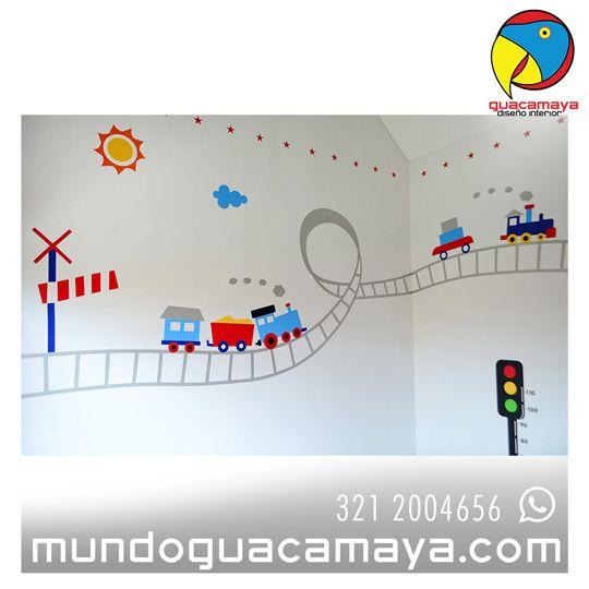 Contáctanos Whats App: 3212004656. Vinilos decorativos, Habitaciones infantiles, transporte. ¿Quieres unos para tu hij@? www.mundoguacamay... Bogotá Colombia