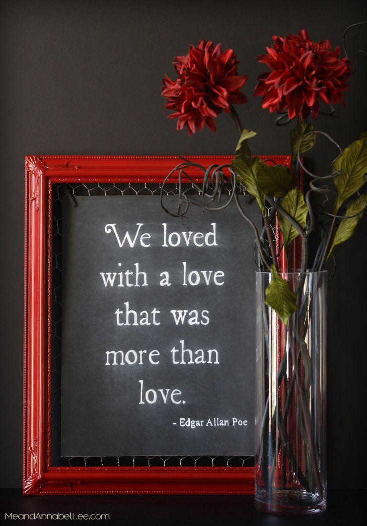Dark Romance DIY Chalkboard Art - Annabel Lee Quote by Edgar Allan Poe - Gothic Valentine - www.MeandAnnabelLee.com