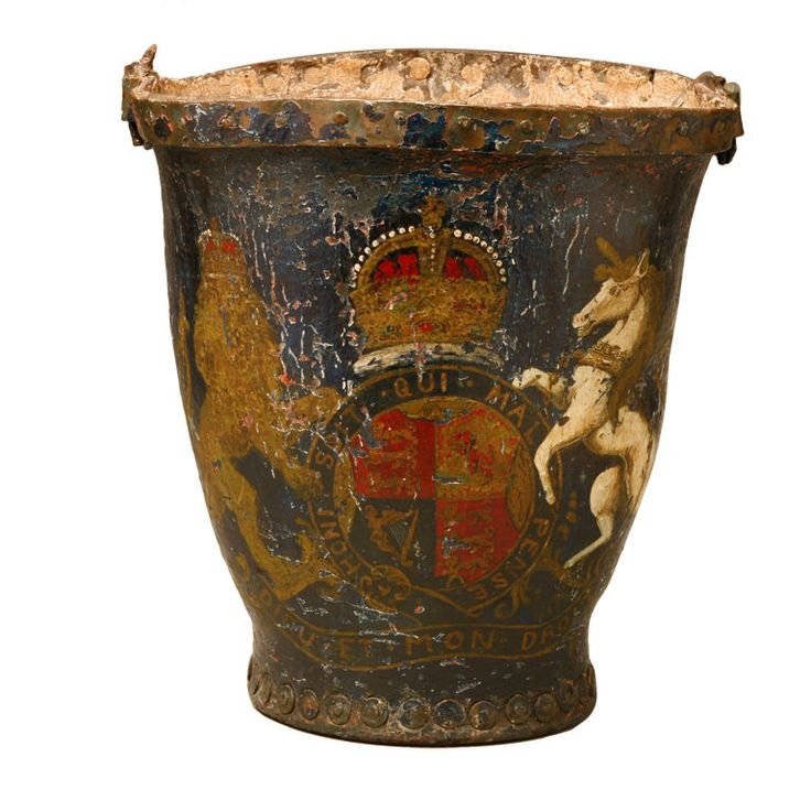 A Fine Late 18th Century Fire Bucket | From a unique collection of antique and modern fireplace tools and chimney pots at http://www.1stdibs.com/furniture/building-garden/fireplace-tools-chimney-pots/