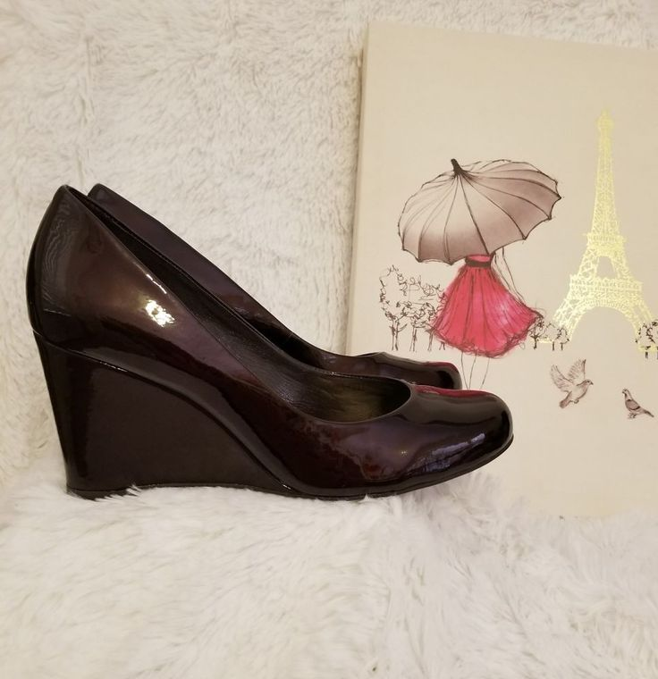 Antonio Melani Round Toe Genuine Patent Leather Wedges Choco Brown Size 7 EUC  #AntonioMelani #Wedges #DressyCareer
