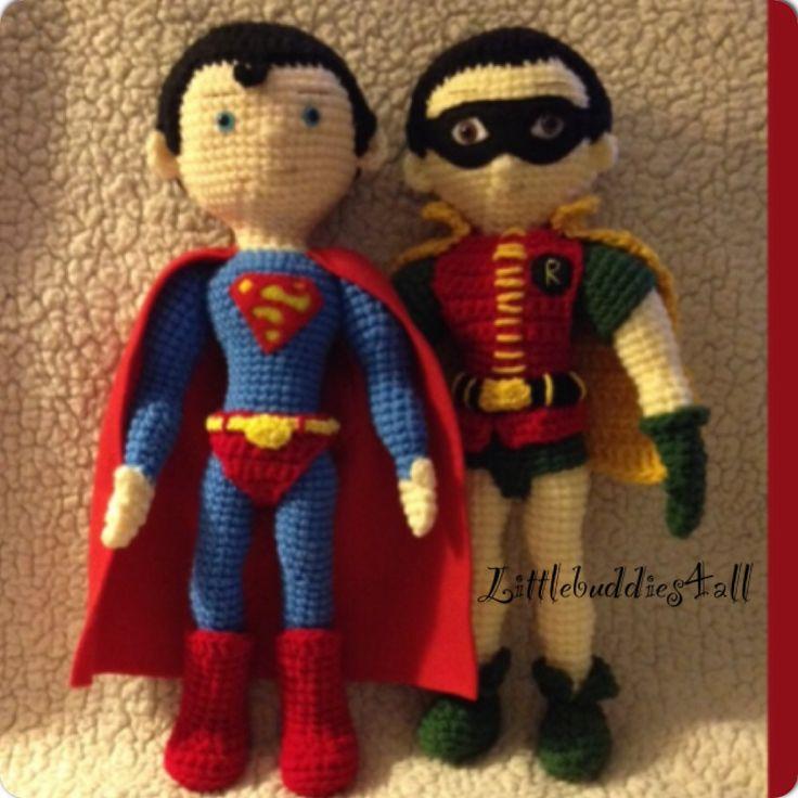 Knitting Pattern Superman Doll : Crochet superman and Robin Facebook/littlebuddies4all Littlebuddies4all dol...