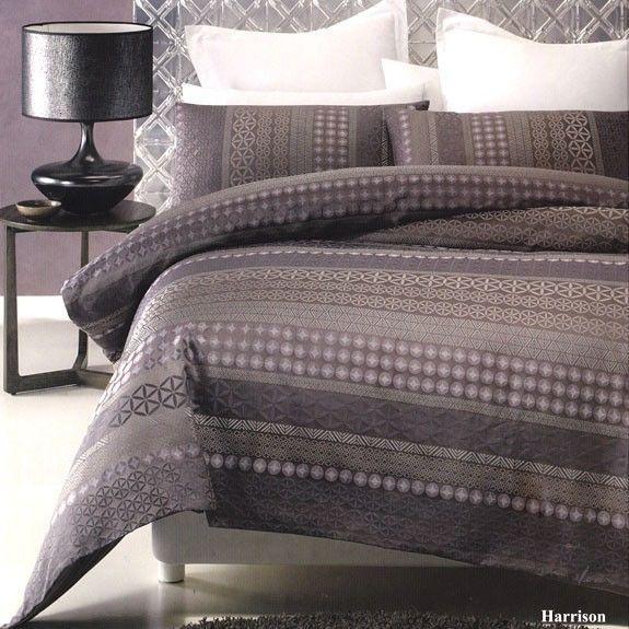 Harrison Purple Grey Jacquard Queen Quilt Doona Duvet
