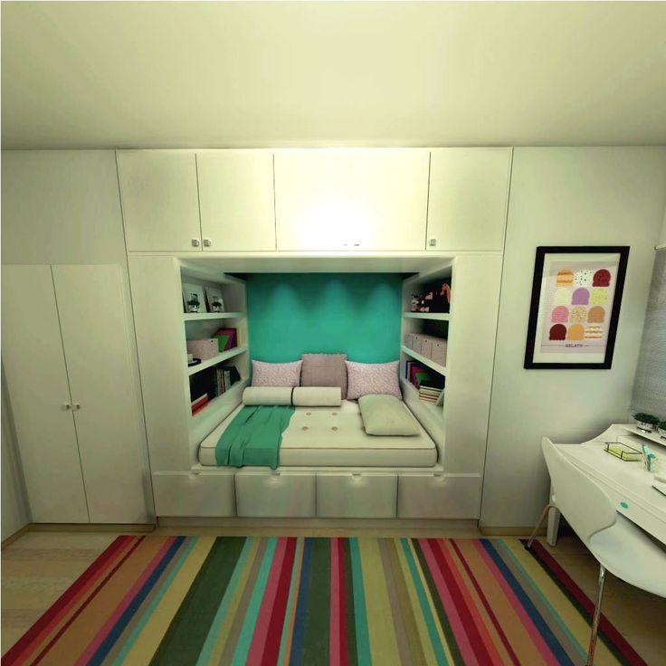 1000+ ideias sobre Quartos Pequenos no Pinterest  ~ Quarto Planejado Apartamento Pequeno Feminino