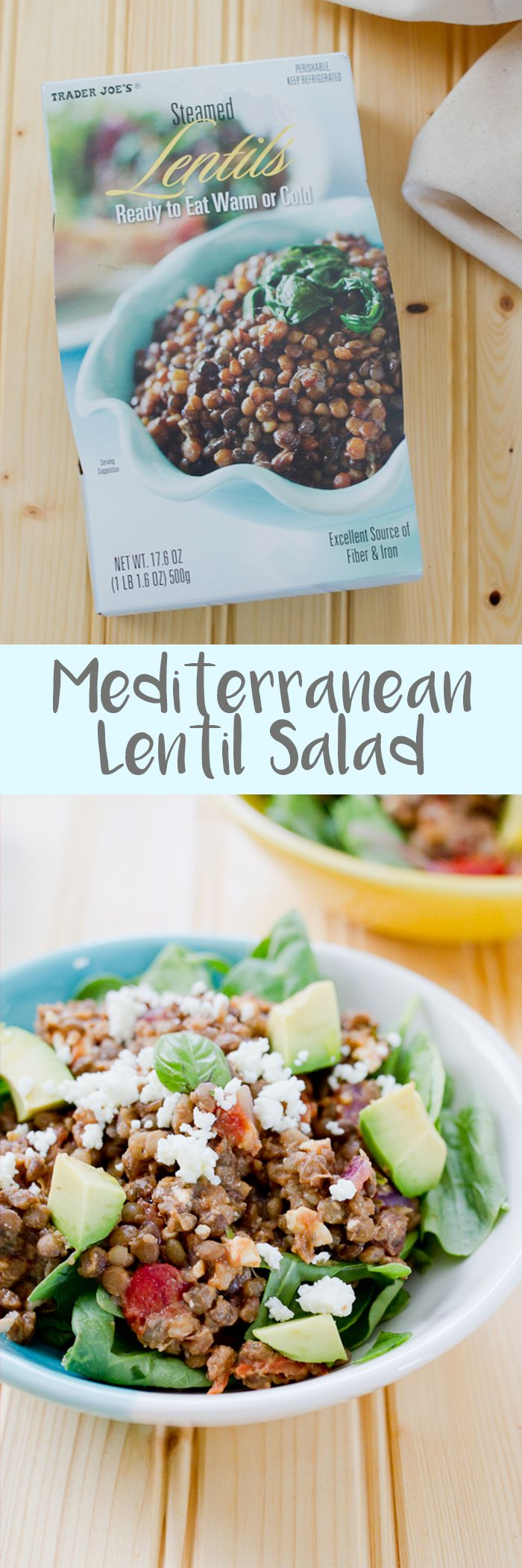 This Mediterranean lentil salad marries sautéed tomatoes, fresh basil and feta with steamed lentils for a hearty, flavorful vegetarian meal that takes less than 20 minutes to prepare!