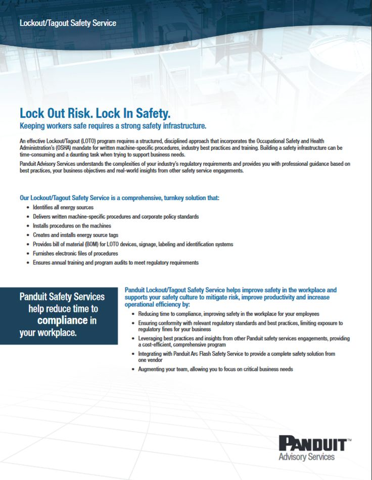 """Panduit Lock Out Risk. Lock In Safety. """"CPSD21--WW-ENG"""" 01.2013 http://www.panduit.com/ccurl/383/927/D-CPPSD21--WW-ENG-LOTOSafetyServices-W%20012413,0.pdf"""