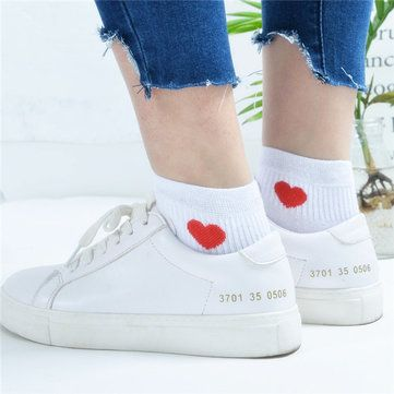 Girls Women Cotton Love Heart Socks Casual College Style Soft Ankle Low Boat Socks at Banggood