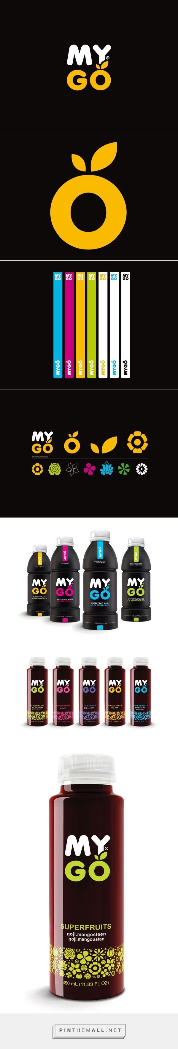 "MYGO SUPERFRUITS packaging on Behance by Thebault Julien curated by Packaging Diva PD. ""MYGO is a superfruit juice, rich in antioxidants with goji berry, an ancient Chinese medicinal fruit, often called "" the fruit of happiness""."