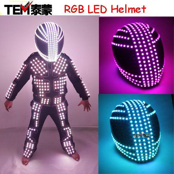 RGB Color LED Helmet Monster Mask Luminous Hat Dance Clothes DJ Helmet For Performances LED Robot  Performance Party Show