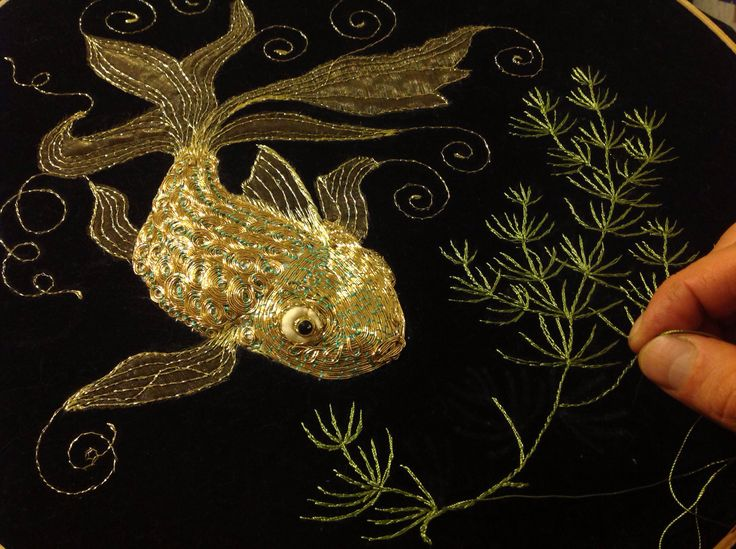 Golden embroidery.