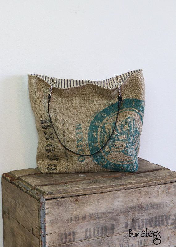 Burlap Coffee Sack Classic Tote by Burlabags on Etsy,