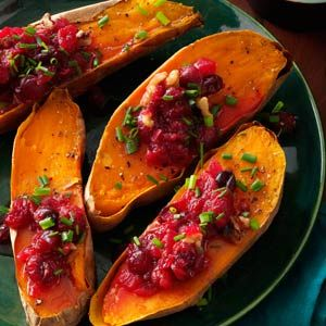 cranberry walnut sweet potatoes...make muffins with leftover cranberries or thrown them in oatmeal