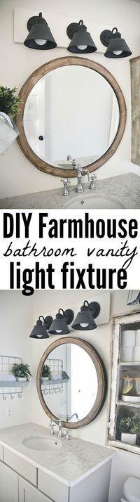 Farmhouse light fixtures, bathroom mirror, home decor #diydecor #Farmhouse #rustic #signs #homedecor #farmhouselights #lighting #bathroommirror #mirror #bathroomdecor  #bath #afflink #ss