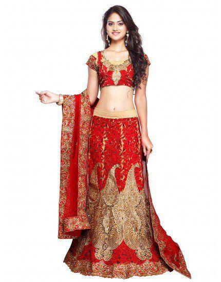 Cream and Red Art Silk Lehenga Choli with Zari Work