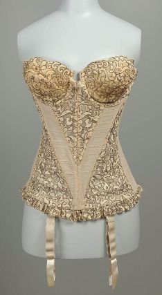 "Pink corset (long-line bra) with lace cups, insert, and trim, and attached garters, American, 1960s. Made of cotton, rayon, rubber, and nylon. Label: ""Warner's"", ""Champs Elysees."""