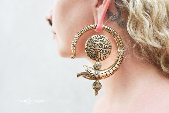 Dragon Ear WeightsDragon EarringsTribal Brass EarringsBrass