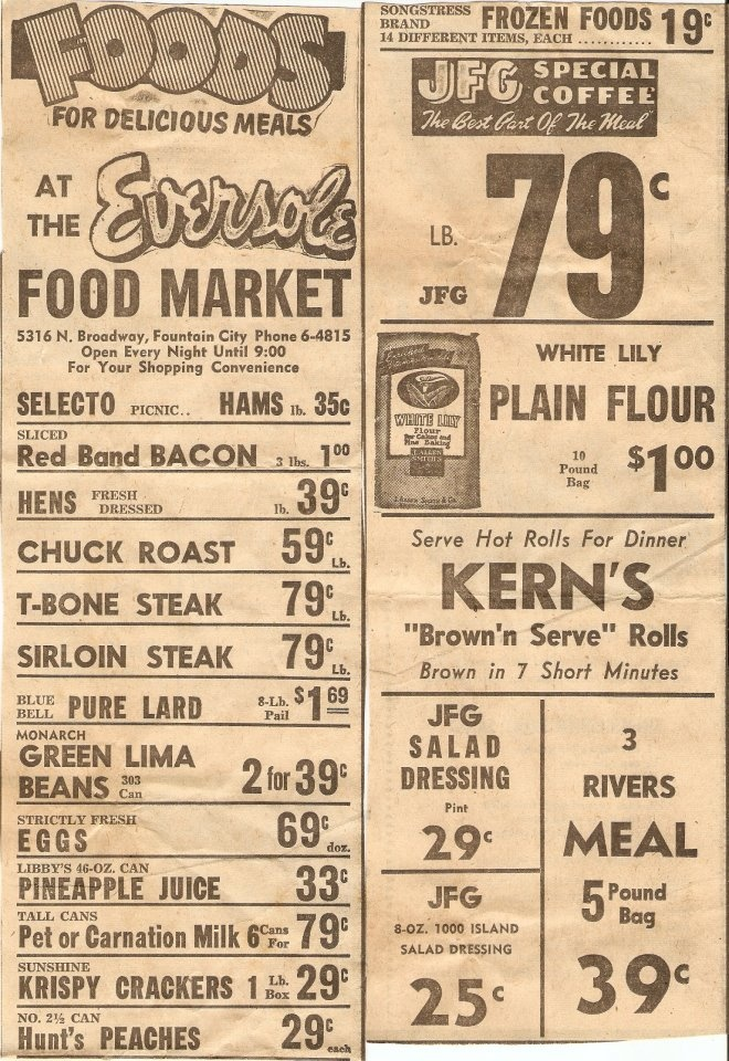 Nov 29, 1951 ad in the Knoxville TN News Sentinel. Look at those prices!
