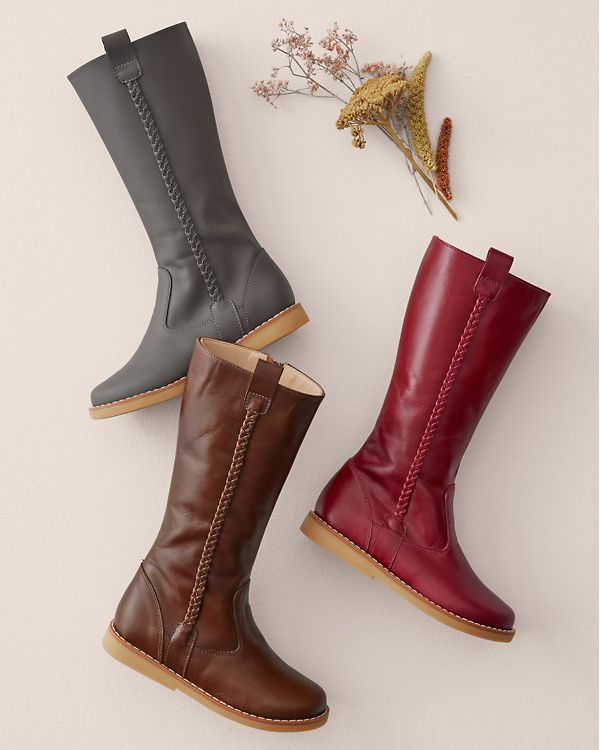 Tall Braided Leather Boots