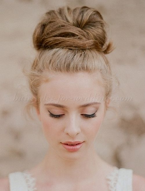 high bun wedding hairstyles, tup bun hairstyles for brides - high bun hairstyle for weddings