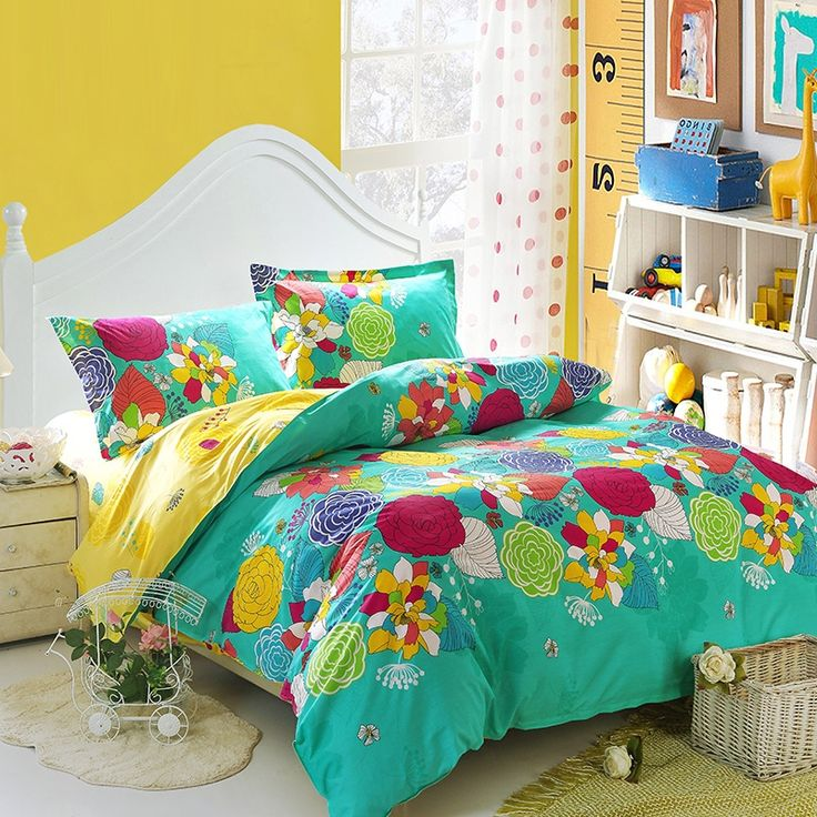 turquoise yellow and red bright colorful nature floral garden vintage oriental style cotton full size bedding sets