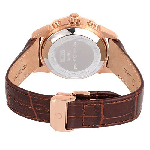 ALFAJR WA-10B Watch Deluxe Brown Leather Prayer/Namaz/Azan Watch - For Men - Swiss Made - Designed and Approved in Saudi Arabia   AZAN TIMES ( for all cities around the world ): Major cities around the world are pre-programmed in the watch. And any other location can be programmed usin