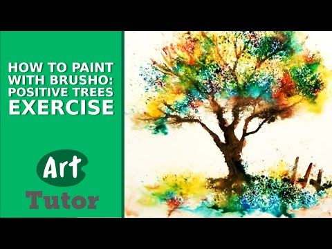 How to Paint with Brusho: Positive Trees Exercise - YouTube