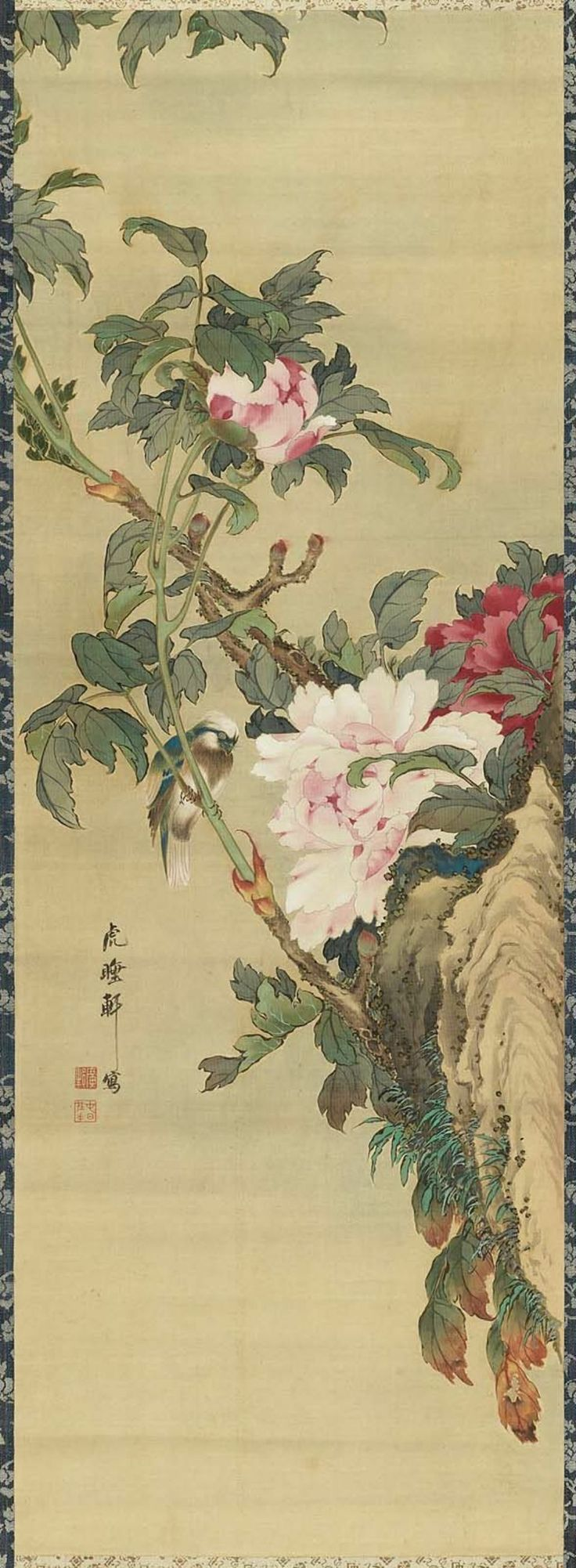 Peony And Bird- Nagasaki, Edo period Kosuiken, Japan