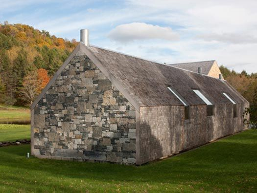 """a contemporary gable house with stone walls and a cedar shingle barn in Woodstock, Vermont by architect Rick Joy Architects"""