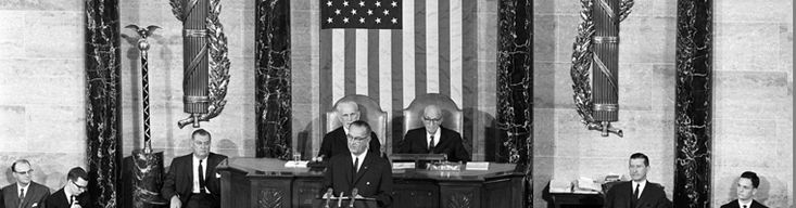 =Photo of President Johnson delivering the State of the Union Address, 1964  www.LBJLibrary.org