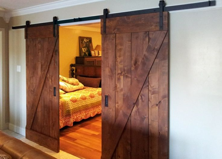 Barn Door Installations   Barn Door Kit In Rustic Alder With Classic Flat  Track In Oil Rubbed Bronze. A Great Choice For This Bedroom!