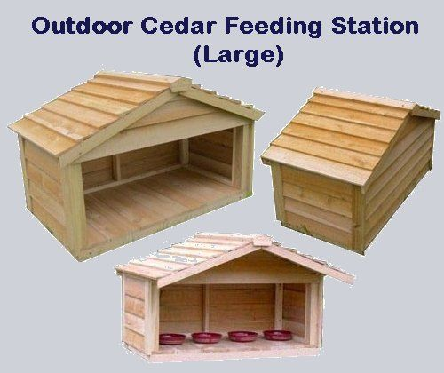 Outdoor Cedar Feeding Station - Large. The Outdoor Cedar Feeding Stations are the perfect solution for keeping your animals food clean and dry.  Price $212.00 #outdoorcathouse #outsidecathouse #catoutsidehouse #cat #outdoor #outside #house