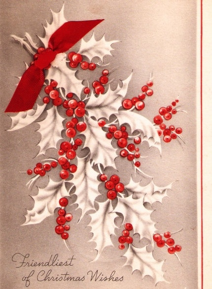 Vintage Christmas Card Holly Leaves and Berries by PaperPrizes, $4.00