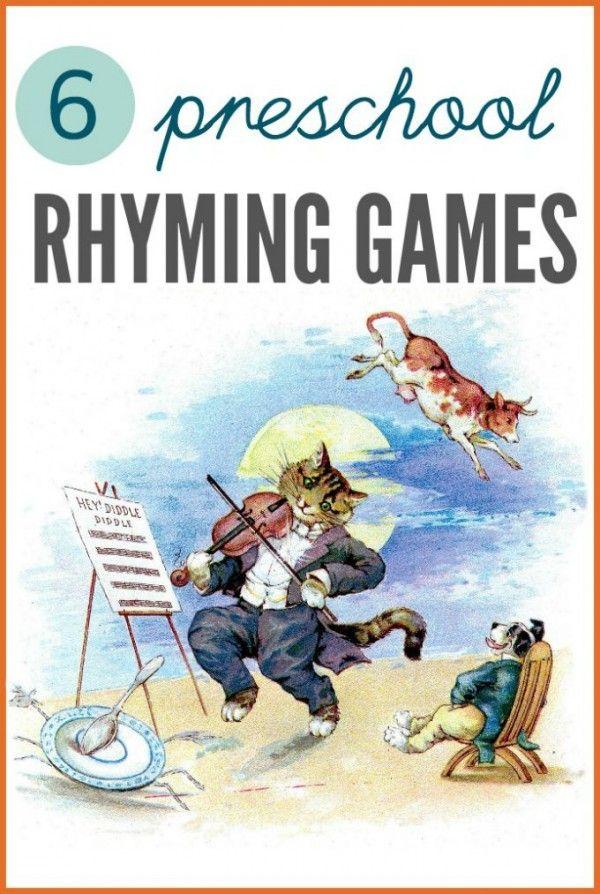 Preschool rhyme games for literacy skills.